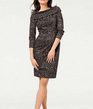 Платье, серо-черное