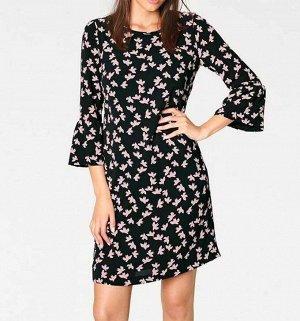 Платье, черно-розовое