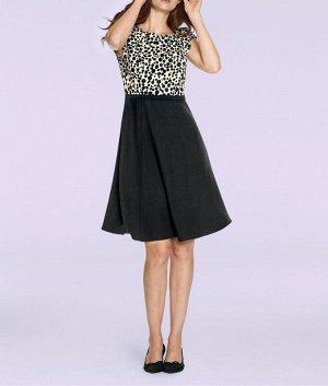 Платье, черно-кремовое