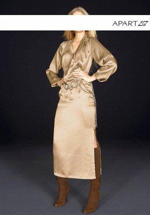 Сатиновое платье, бежевое