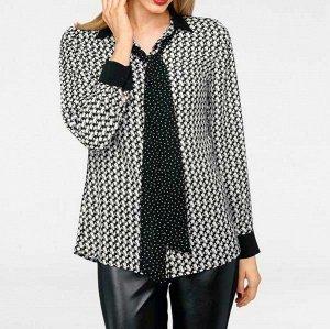 Блузка с 2 шарфиками, черно-белая