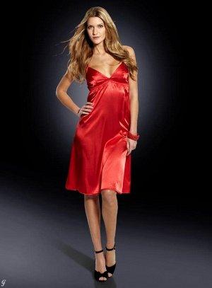 Сатиновое платье, красное