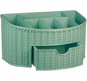 Органайзер Органайзер с ящиком [ВЯЗАНИЕ] ФИСТАШКОВЫЙ Органайзер имеет шесть отделений и выдвижной ящик. Подойдёт для хранения: канцелярии, косметики, бижутерии. Текстура поверхности напоминает вязаное