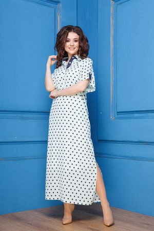 Платье Платье Anastasia 273 мята  Рост: 170 см.  Платье женское, из текстильной ткани (шелк молочного цвета в черный горошек); нижнее-из трикотажного полотна, молочного цвета. Платье прямого силуэта,
