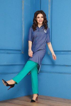 Костюм Костюм Anastasia 276  Рост: 164 см.  Комплект женский 2-х предметный (блуза, брюки). Блуза удлиненная, прямого силуэта, спинка длиннее переда. Блуза из текстильной ткани на основе цвета джинса