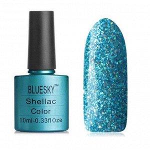 Гель-лак Bluesky №210 бирюзово-синий, с серебристыми блестками голографик, плотный, 10 мл