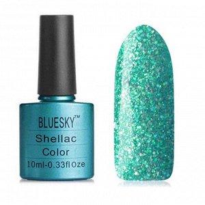 Гель-лак Bluesky №211 бирюзово-зеленый, с серебристыми блестками голографик, плотный, 10 мл