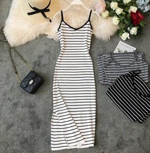 Платье слинг, белое в полоску