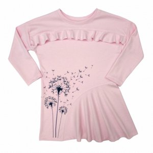 Платье Чудесное платье для юных модниц. Украшено шелкографией. Оригинальный покрой. Спущенный рукав. Материал: 100% хлопок, интерлок пенье
