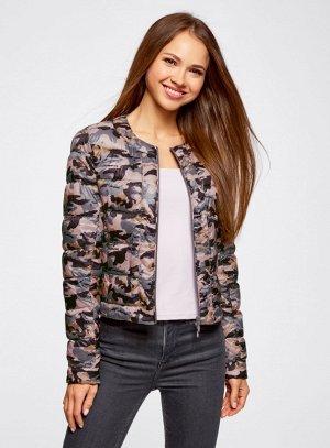 Куртка стеганая с принтом розовый
