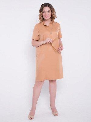 Платье Платье модной расцветки прямого силуэта выполнено из вискозного полотна. - горловина с воротником стойкой - рукава втачные, короткие - по переду планка с застежкой на петли-пуговица - подол пр