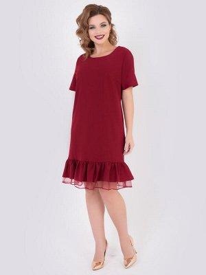 SALE Платье А-образного силуэта из плательной ткани однотонной расцветки. - горловина на внутренней обтачке, оформлена круглым вырезом - рукава втачные короткие - низ платья декорирован объемными вола