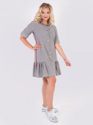Платья Платье А-силуэта выполнено из меланжевой костюмной ткани средней плотности. Горловина оформлена отложным воротником на стойке, который переходит в планку с застежкой на петли-пуговицы. Втачные