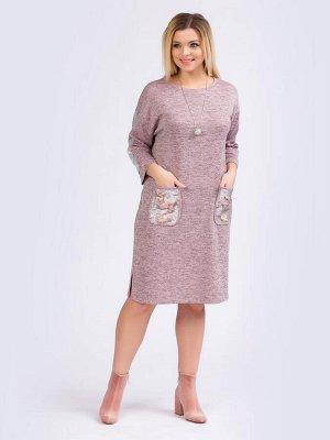 Платья Удобноеплатье прямого силуэтавыполнено из трикотажного полотна практичной расцветки меланж. Горловина оформлена круглым вырезом. Втачные рукава длиной 3/4, со спущенной линией проймы декориро
