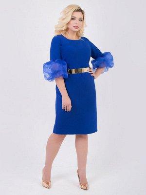 SALE Элегантное платье приталенного силуэта из костюмной ткани . Круглый вырез горловины на внутренней обтачке. Укороченные втачные рукава длиной до локтя дополнены объемными двойными воланами из орг