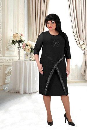 Черный Примечание: замеры длин соответствуют размеру 52. Длина платья: 95 см. Длина накидки: 105 см. Рукав платья: нет. Длина рукава накидки: 43 см. Подкладка платья: нет. Подкладка накидки: нет. Заст