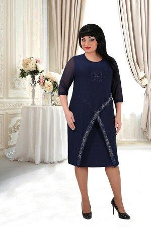 Синий Примечание: замеры длин соответствуют размеру 52. Длина платья: 95 см. Длина накидки: 105 см. Рукав платья: нет. Длина рукава накидки: 43 см. Подкладка платья: нет. Подкладка накидки: нет. Засте