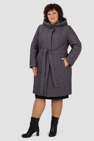 Б-5-565-32.82-С Пальто с капюшоном+ пояссерый