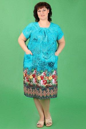 Бирюзовый Внимание: универсальный размер 56-60. Длина платья: 105 см. Длина рукава: 20 см. Подкладка: нет. Застежка: нет. Карманы: есть, два функциональных. Декор: нет. Состав: хлопок 100%.