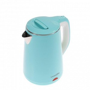 Чайник электрический LuazON LSK-1811, пластик, колба металл, 2.3 л, 2000 Вт, голубой