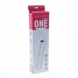 Сетевой фильтр Smartbuy, 5 розеток, 3 м, 10 А, 2200 Вт, с з/к, с выкл., белый