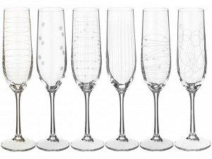 """""""Виола """"Elements"""" Набор бокалов для шампанского 190мл. 6шт. 40729 379712 190"""