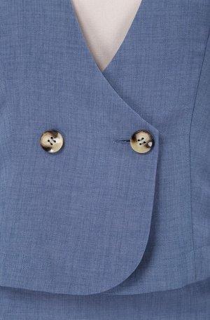 Костюм Костюм Linia-L А-1658 синий  Сезон: Весна-Лето Рост: 164  Повседневный текстильный комплект-тройка, состоящий из жакета, блузки и юбки. Жакет полуприлегающего силуэта. Рукав втачной короткий.