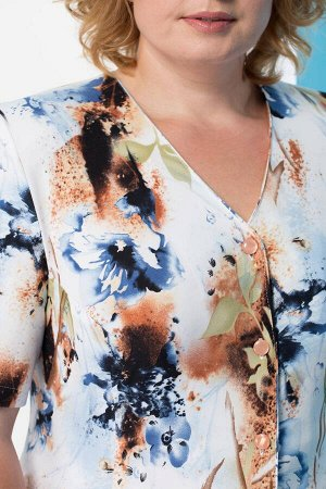 Костюм Костюм Linia-L А-777 синие цветы  Состав: ПЭ-100%; Сезон: Весна-Лето Рост: 164  Повседневный трикотажный костюм состоящий из жакета и юбки. Вырез горловины V-образный. Застежка на петли и пуго