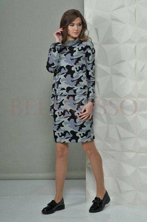 Платье Платье Golden Valley 4432-1 светло-зеленое  Состав ткани: ПЭ-36%; Хлопок-59%; Эластан-5%;  Рост: 170 см.  Стильное оригинальное платье с цельнокроеным воротником-стойкой, двуслойное. Верхняя ч