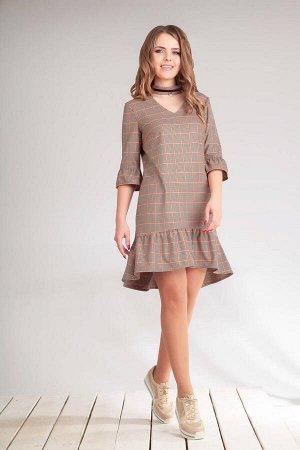 Платье Платье Golden Valley 4440  Состав ткани: Вискоза-35%; ПЭ-62%; Спандекс-3%;  Рост: 170 см.  Платье с воротником - стойкой, V-образным вырезом горловины переда, застежкой на навесные петли и пуг
