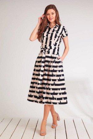 Платье Платье Golden Valley 4473-1 черное с коралловым  Состав ткани: Спандекс-3%; Хлопок-97%;  Рост: 170 см.  Платье с втачным воротником с отрезной стойкой, центральной застежкой на петли и пуговиц