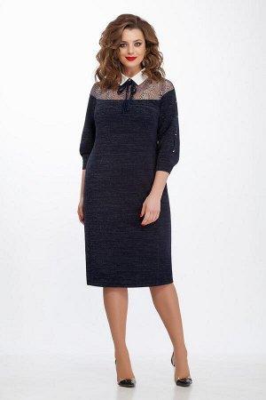 Платье Платье TEZA 114  Состав ткани: Вискоза-20%; ПЭ-76%; Эластан-4%;  Рост: 164 см.  Платье полуприлегающего силуэта из мягкой ткани с эффектом мерцания. Спинка со средним швом с молнией, внизу шли