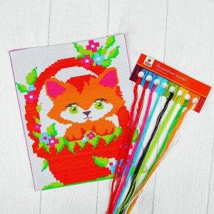 Вышивка крестиком для детей «Котёнок» 25 х 20 см. Набор для творчества