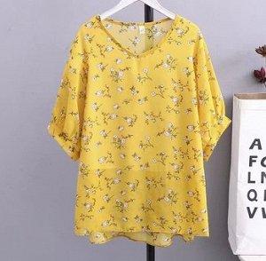 Шифоновая рубашка с принтом,жёлтый