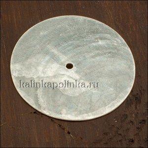 Перламутровая основа для декупажа с отверстием посередине, цвет естественный белый, р-р 35мм, толщина 1мм.