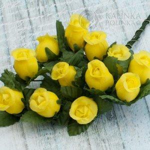 12шт. Цветы из ткани Розочки, цвет желтый, р-р цветка 12х18мм, ножка 8см, Цветы из ткани Розочки, цвет желтый, р-р цветка 12х18мм, ножка 8см