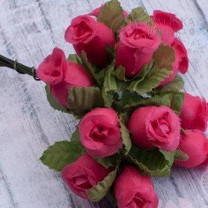 1 букет (12шт.) Цветы из ткани Розочки, цвет малиновый, р-р цветка 12х18мм, ножка 8см, Цветы из ткани Розочки, цвет малиновый, р-р цветка 12х18мм, ножка 8см, в 1 букете 12шт., ОПТ 10 бук. (120шт.) Цве