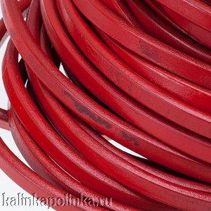 УЦЕНКА: Дефект покраски. Шнур кожаный REGALIZ, р-р 10х6мм, цвет красный