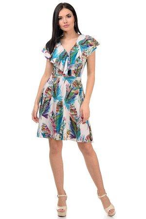 Платье «Милена», р-ры S-L, арт.371 перья голубой