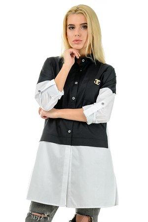 """Платье-рубашка""""Мира"""", р-ры 44-50, арт.263 черный-белый"""