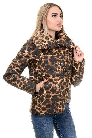 Демисезонная куртка «Далия принт»,р-ры 42-48, №245 леопард