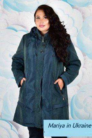 Демисезонная куртка Алексия 001 (58-72) морская волна