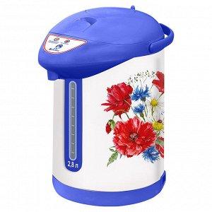 """Чайник-термос электрический 820 Вт, 2,8 л ВАСИЛИСА ТП7-820 """"Полевые цветы"""" белый с голубым"""