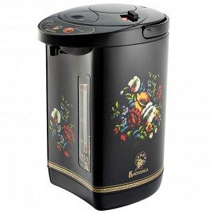 """Чайник-термос электрический 900 Вт, 4,5 л ВАСИЛИСА ТП5-900 """"Райские цветы"""" черный"""