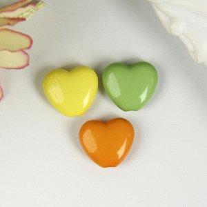 """Бусины для творчества """"Сердце"""", 10 мм, 30 грамм, желтые, оранжевые, зеленые"""