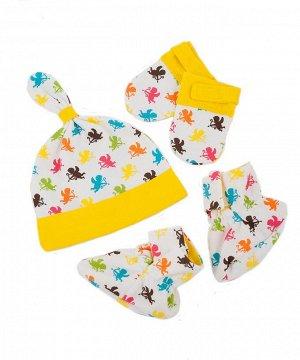 Комплект Комплект для девочки и мальчика (шапочка, рукавички, пинетки) выполнен из интерлока. Упакован в мешок из органзы. Состав: 100% хлопок.