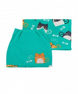 Комплект Комплект для девочки (шапочка, снуд) выполнен из рибаны. Состав: 95% хлопок, 5% эластан.