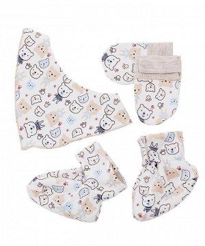 Комплект Комплект для мальчика (рукавички, пинетки, манишка)  выполнен из интерлока. Состав: 100% хлопок.
