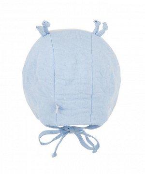 Шапка Двухслойная  шапка для мальчика из капитона на подкладке из кулирки (хлопок 100%), с ушками и завязками. Декорирована вышивкой.