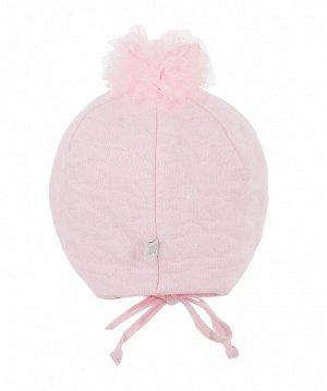 Шапка Двухслойная шапка для девочки с завязками, из капитона на подкладке из кулирки (хлопок 100%). Декорирована вышивкой и помпоном из фатина в верхней части колпака шапки.